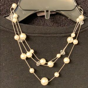 3 strand Faux pearl and crystal bead necklace.